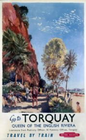 Go to Torquay, Devon. British Railway (WR) Vintage Travel poster by Jack Merriott. 1958